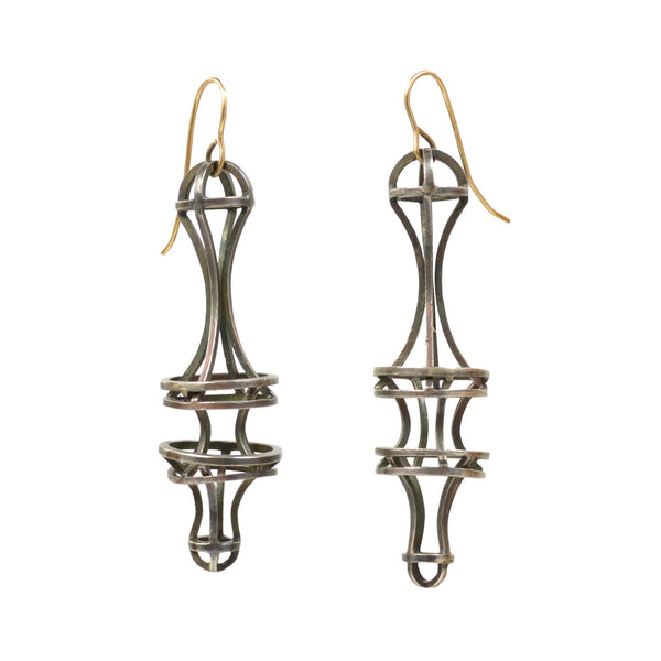 Elongated Vertebrae Link Earrings in Sterling Silver with Blackened Patina