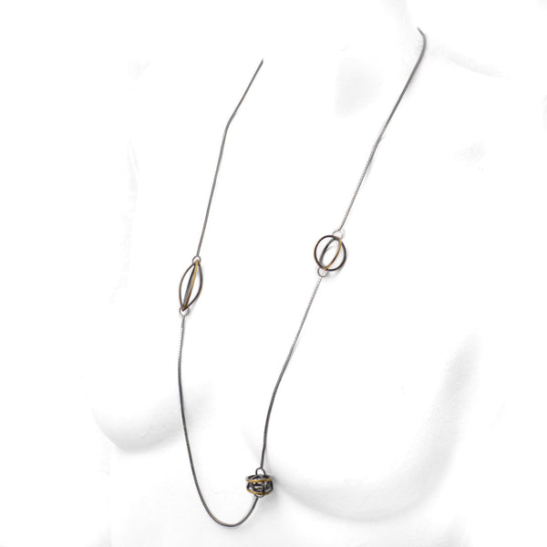 Lattis Long Necklace in Sterling Silver, 22k Gold and Black Patina for Contrast