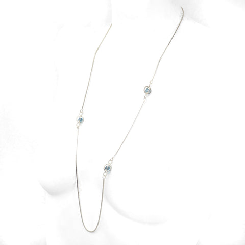 Earth Ocean Air Long Necklace in Sterling Silver, Blue Aura Crystal