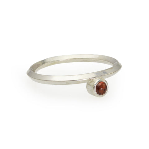 Metropolis Sterling Silver and Garnet Stacking Ring