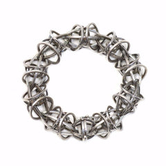 Lattis Bracelet with Custom Clasp in Sterling Silver with Black Patina