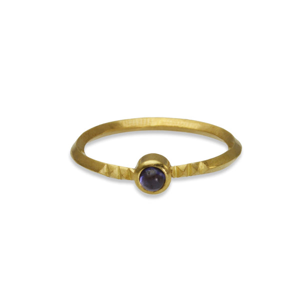 Metropolis Stacking Ring with Amethyst in 14k