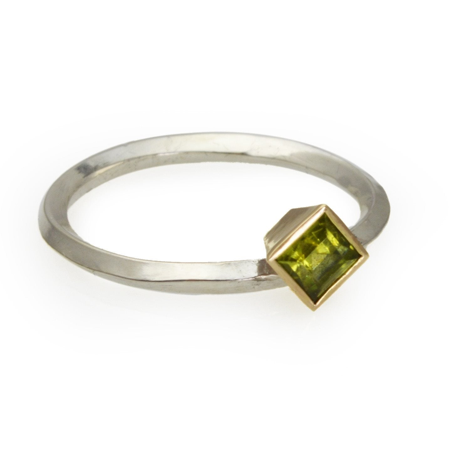 Square Peridot set in 14k gold on a Diamond Profile Sterling Silver Band