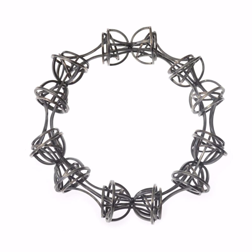 Architectonic Geometric Link Bracelet in Sterling Silver