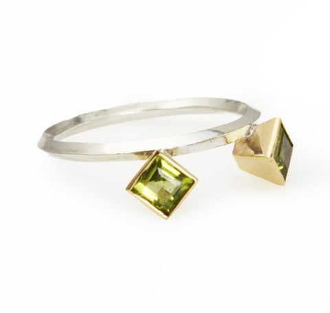 Two Square Peridots set in 14k Gold Geometric Stacking Ring