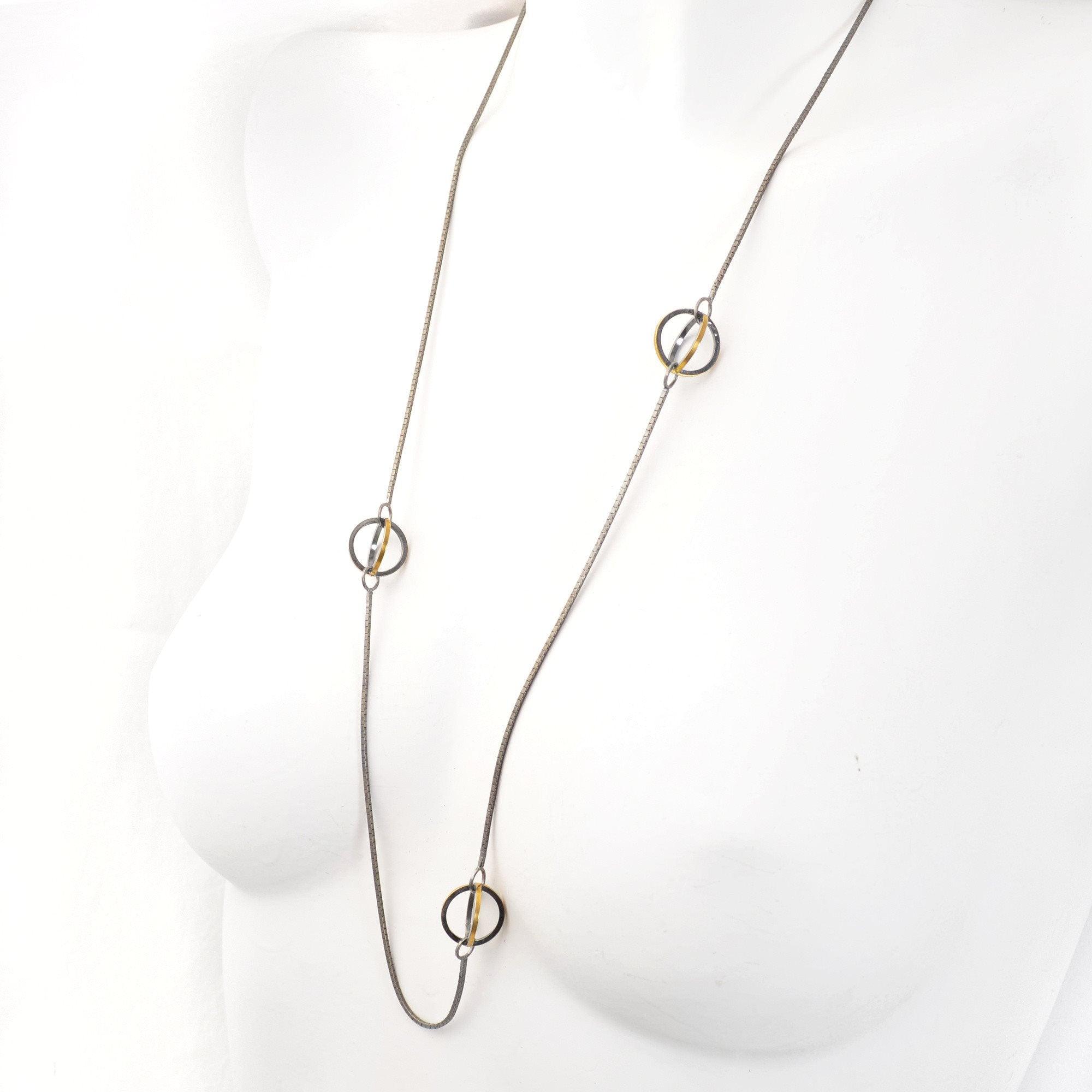 Lattis Long Necklace in 22k and Sterling Silver with 3 Spheres