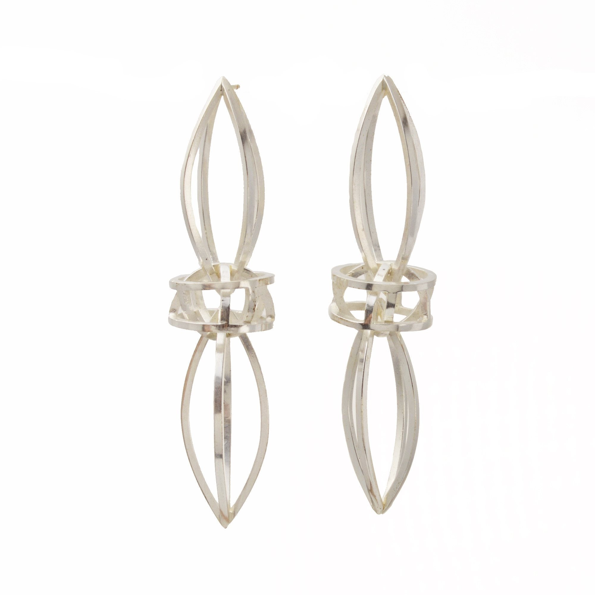 Double Lattis Earrings in Sterling Silver