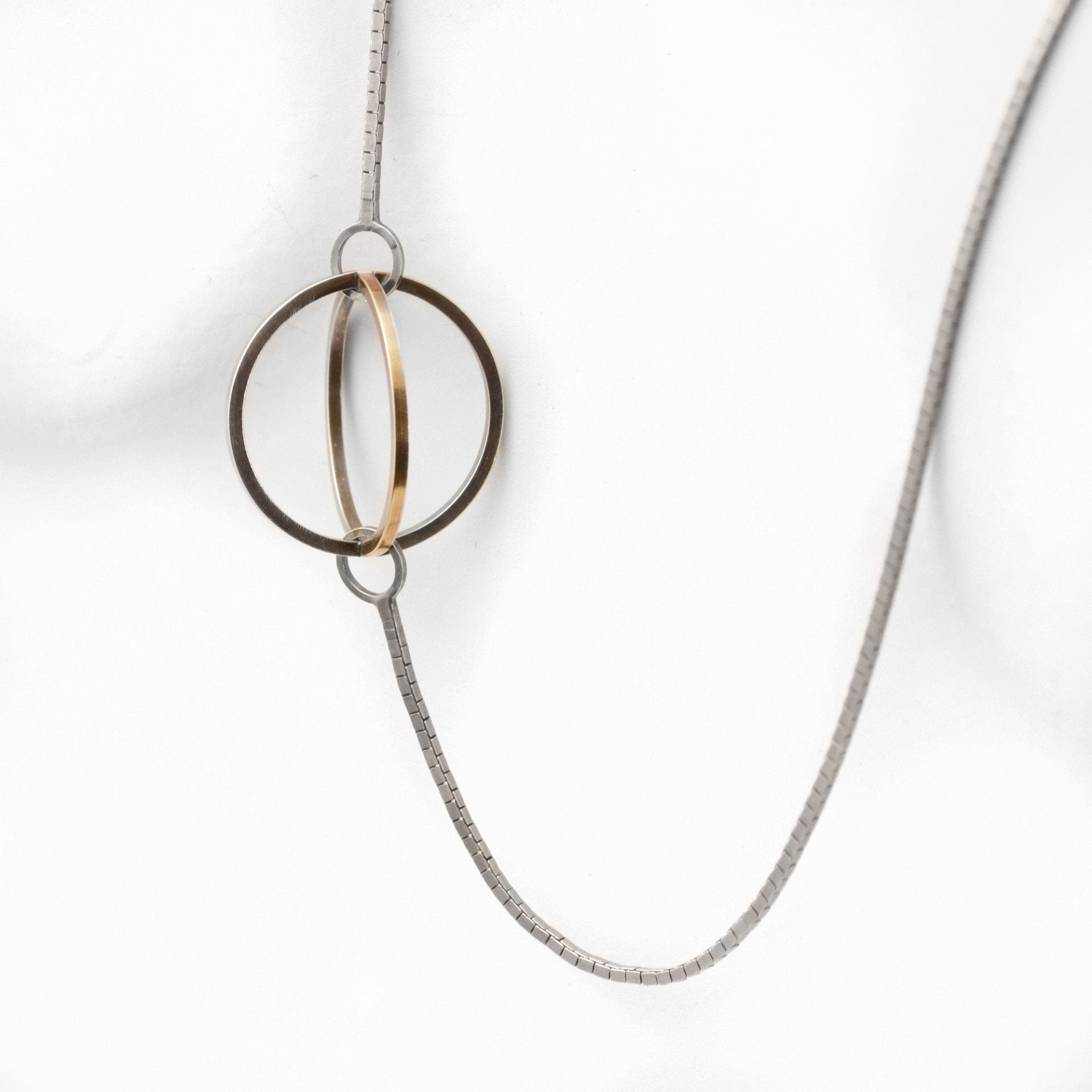 Blackened Sterling Silver and 22k Gold enhance the Geometric Shapes of this Lattis Long Necklace