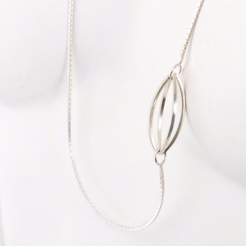 Atmospheric Geometry in Sterling Silver Long Necklace