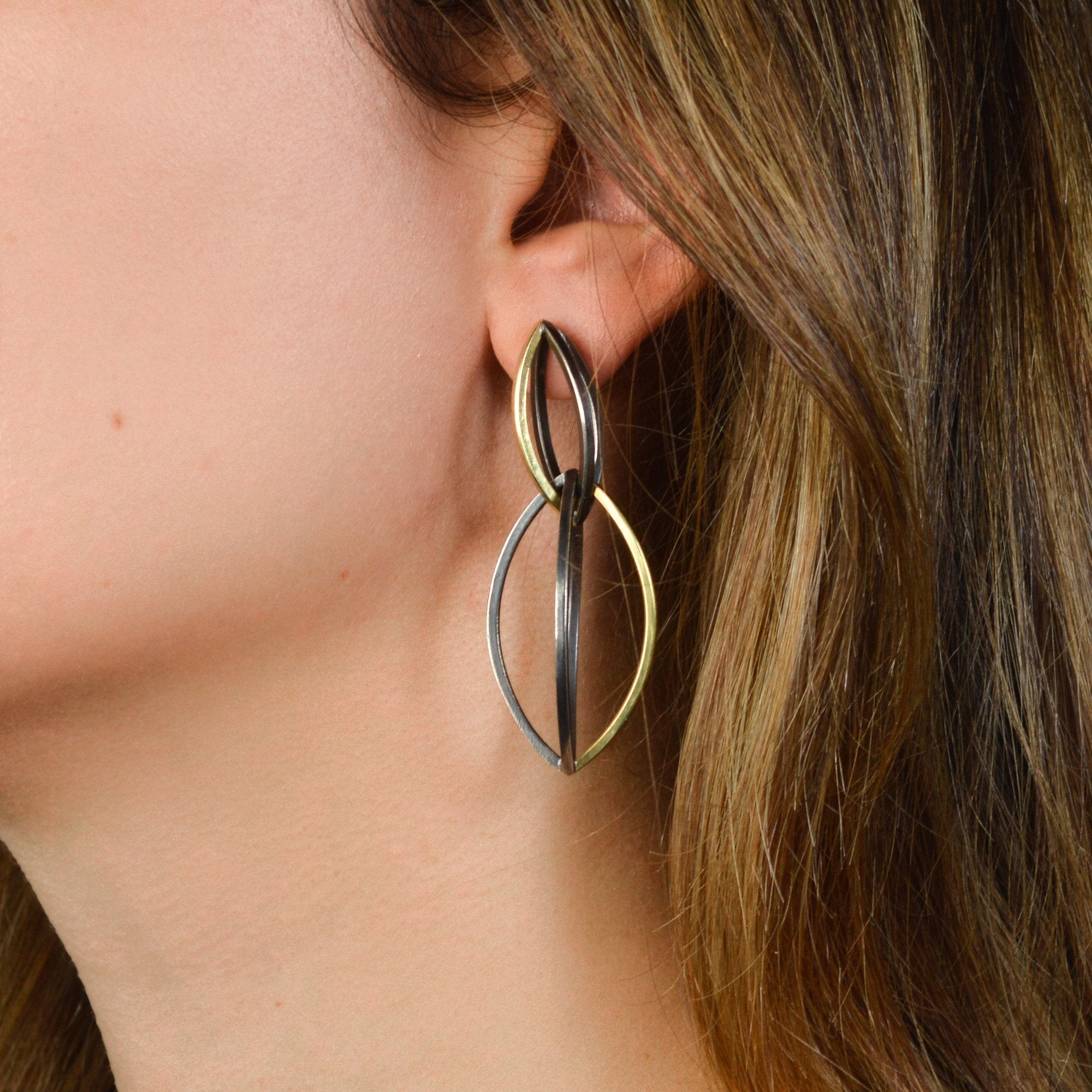 Swell Earrings in 18k Gold and blackened Sterling Silver
