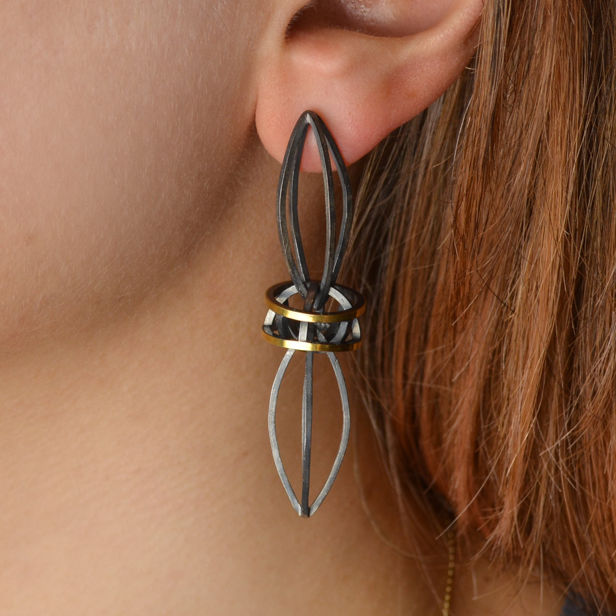 Double Lattis Earrings in 22k Gold, Black Patina finish