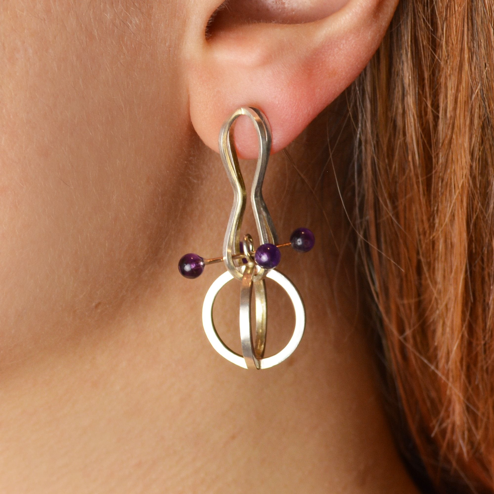 Retro Orbit Drop Earrings in Sterling Silver, 14k Gold, Amethyst