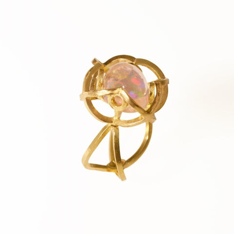 Quatrefoil Crystal Opal Ring with Extraordinary Floating Color