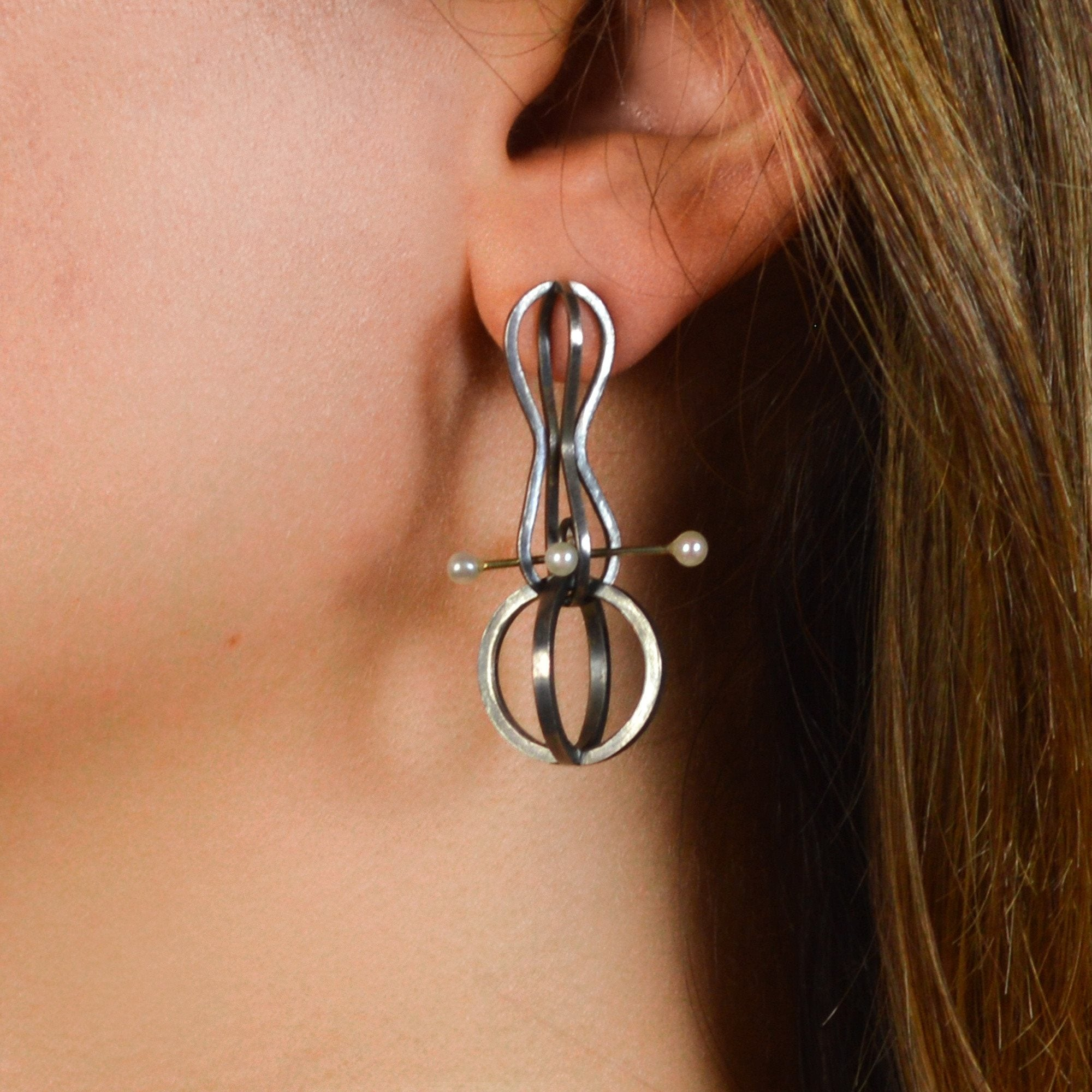 Retro Orbit Drop Earrings in Sterling Silver, 14k Gold, Pearls
