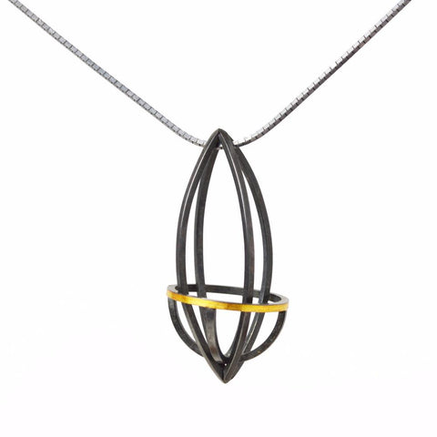 Lattis Pendant in 22k Gold and Blackened Sterling Silver on 18 inch chain
