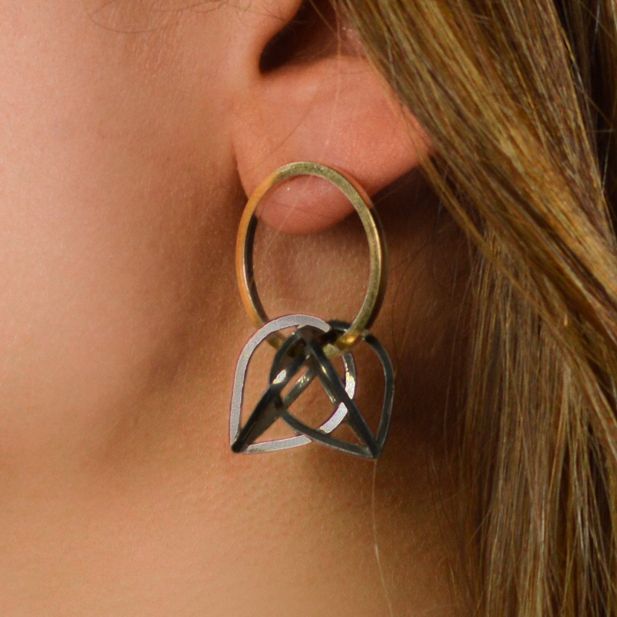 Parabolic Orbit Hoop Earrings in Sterling Silver, 22k Gold with dark patina