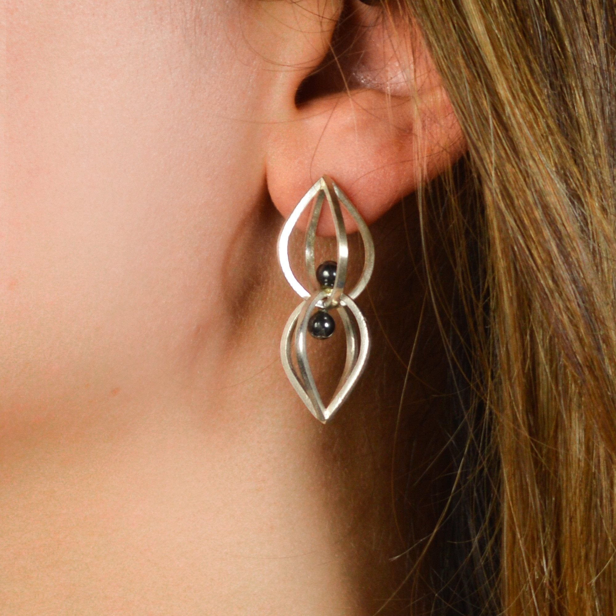 Seed Earrings in Sterling Silver, Hematite
