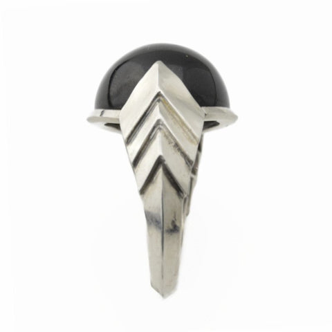 Metropolis Chevron Ring with Black Tourmaline in Sterling Silver