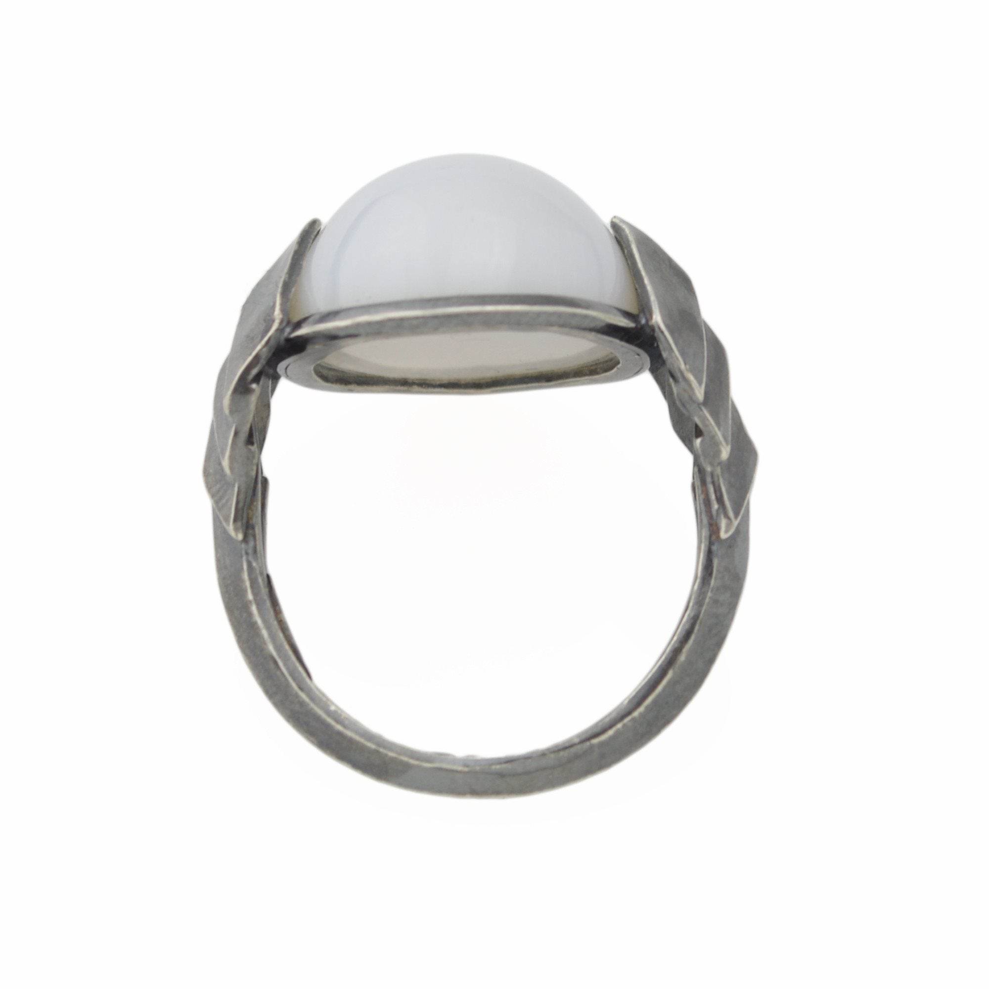Metropolis Chevron Ring in darkened sterling silver with White Agatized Wood from Australia