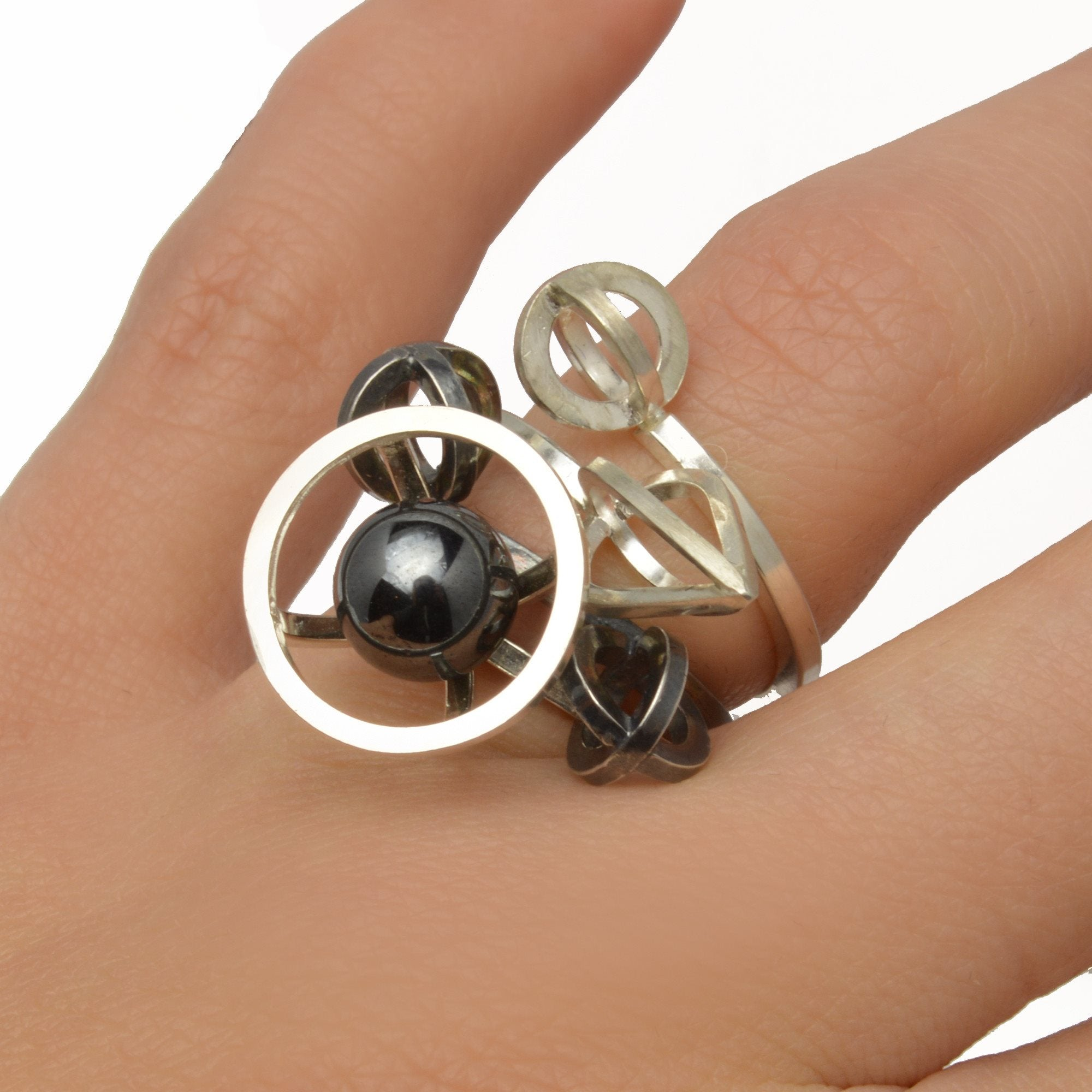 Sphere of Reflection Metropolis Stacking Ring in Sterling Silver and Hematite