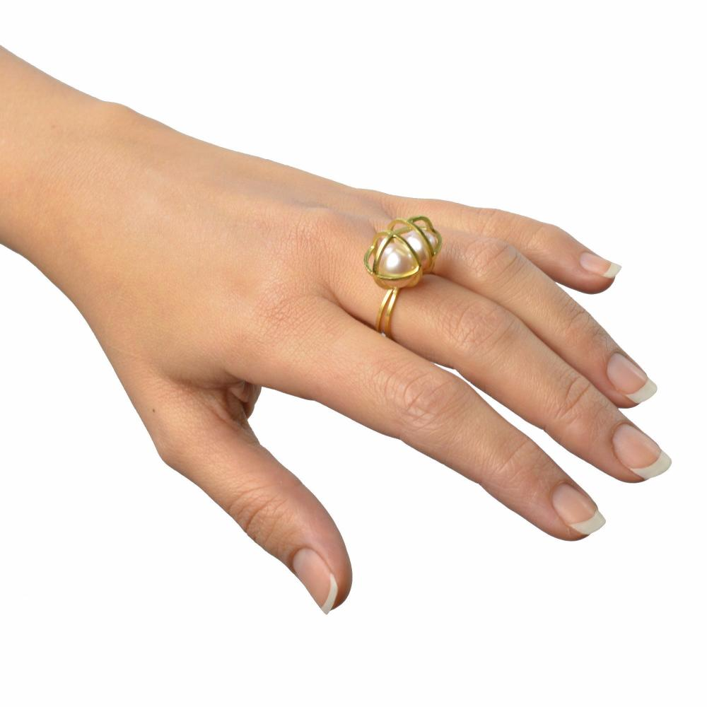 Earth Ocean Air Ring in 18k Gold, Pink Pearl