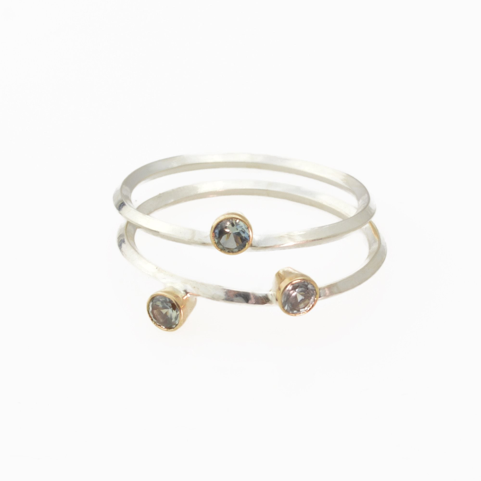 Metropolis Two Montana Sapphires Stacking Ring in 14k Gold and Sterling Silver