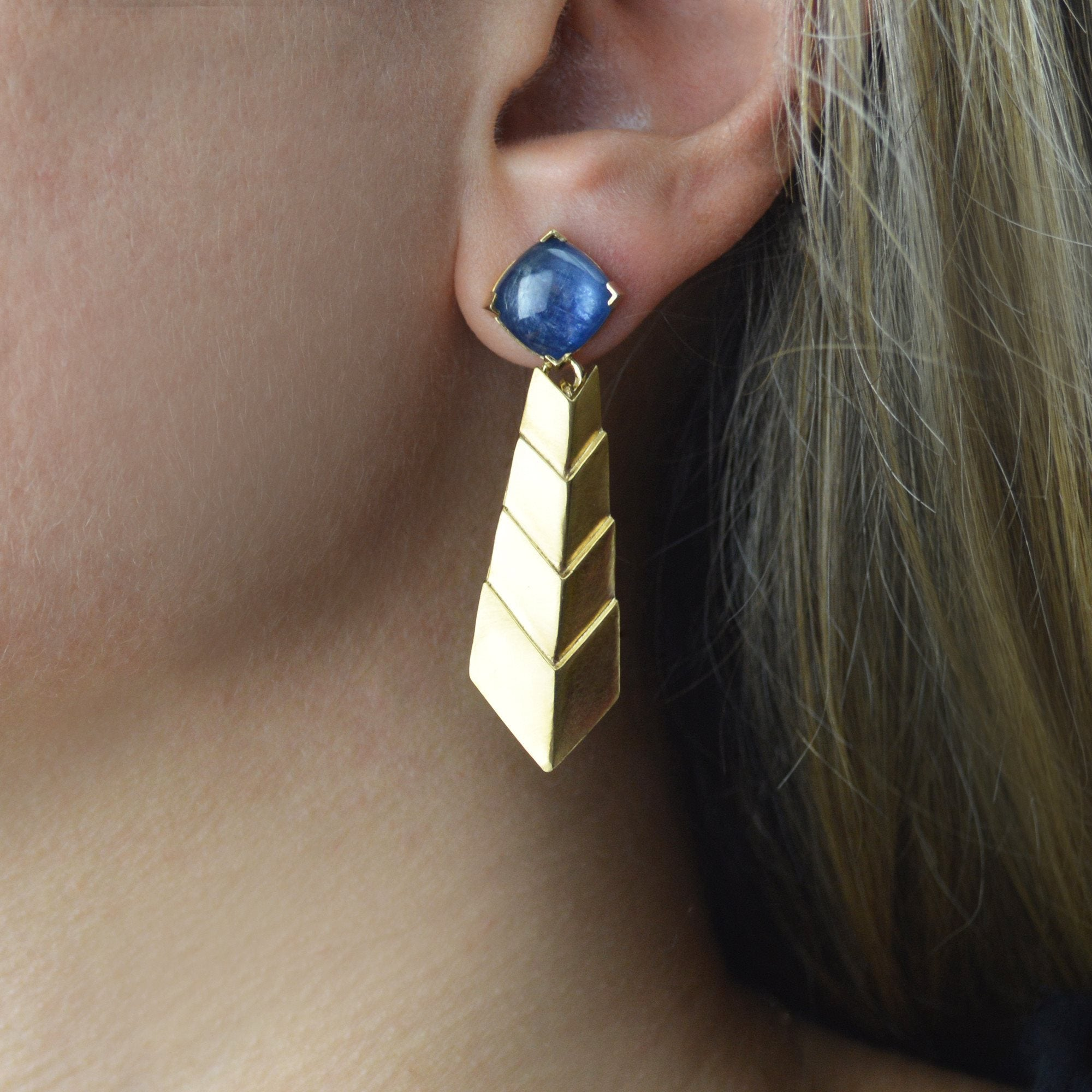 Kyanite Comet Earrings in 24k Gold and Sterling Silver