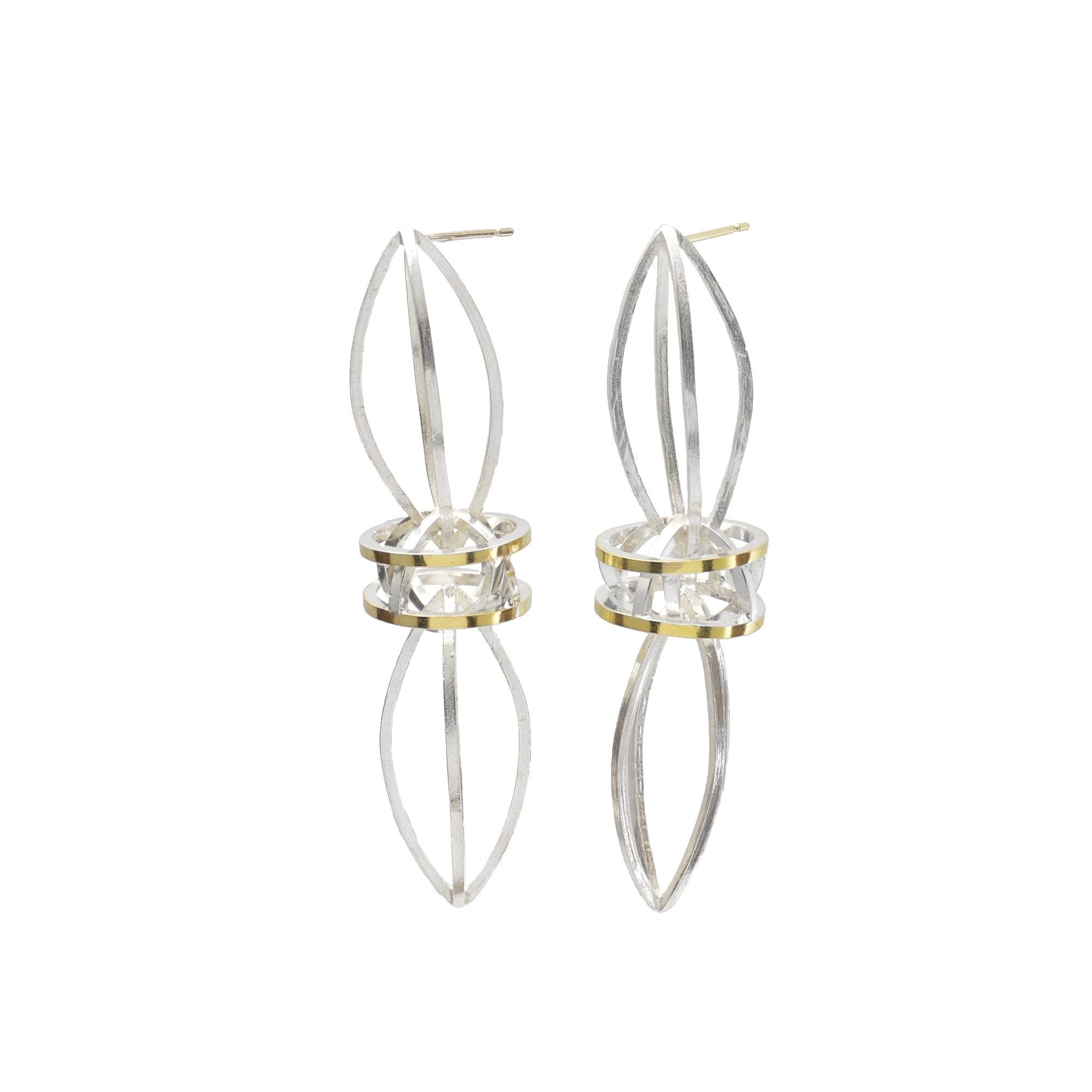 Double Lattis Earrings in 22k Gold, Shiny silver finish
