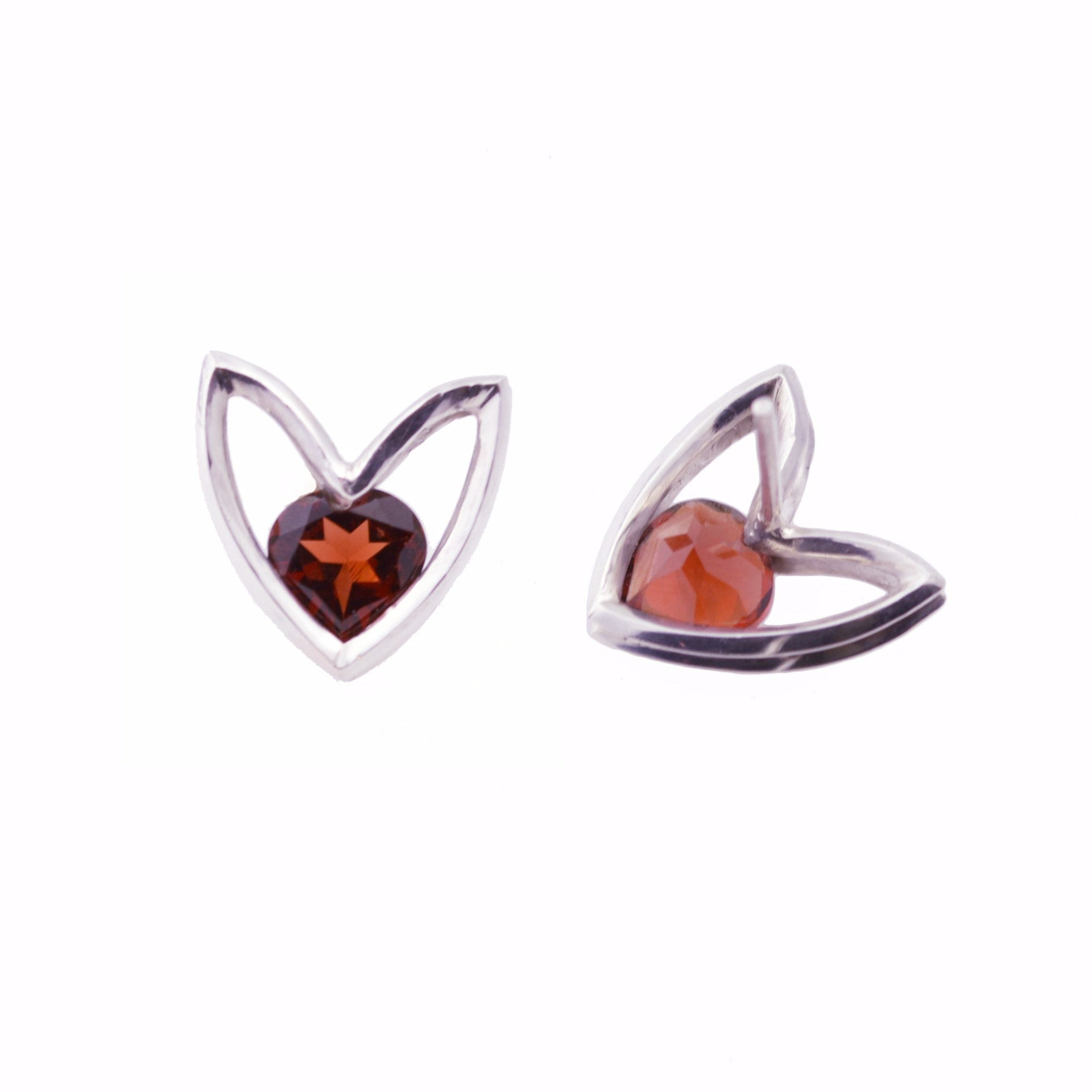 Flora-form Heart Stud Earrings in Sterling Silver with faceted Garnet