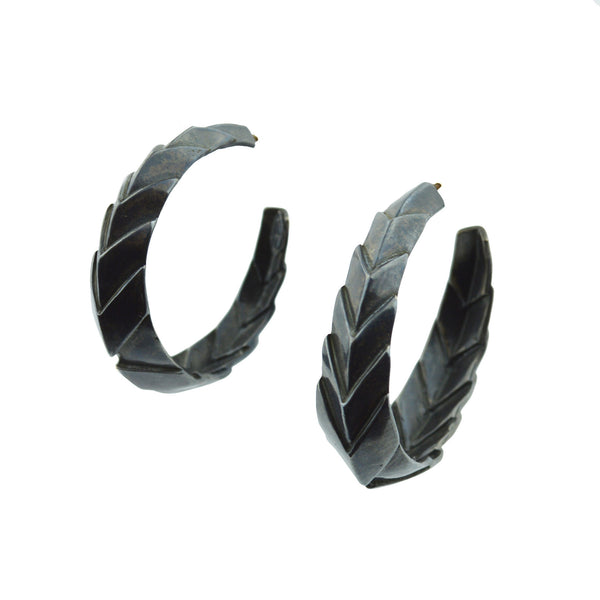 Chevron Hoop Earrings in Sterling Silver with Black finish