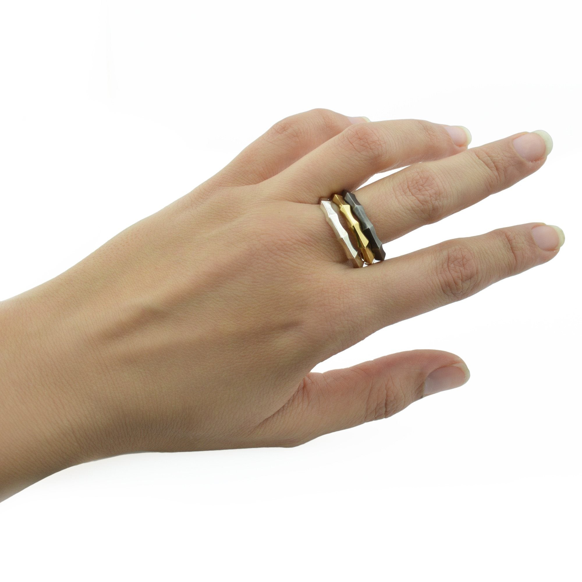 Ibex Stacking Ring in Dark Sterling Silver
