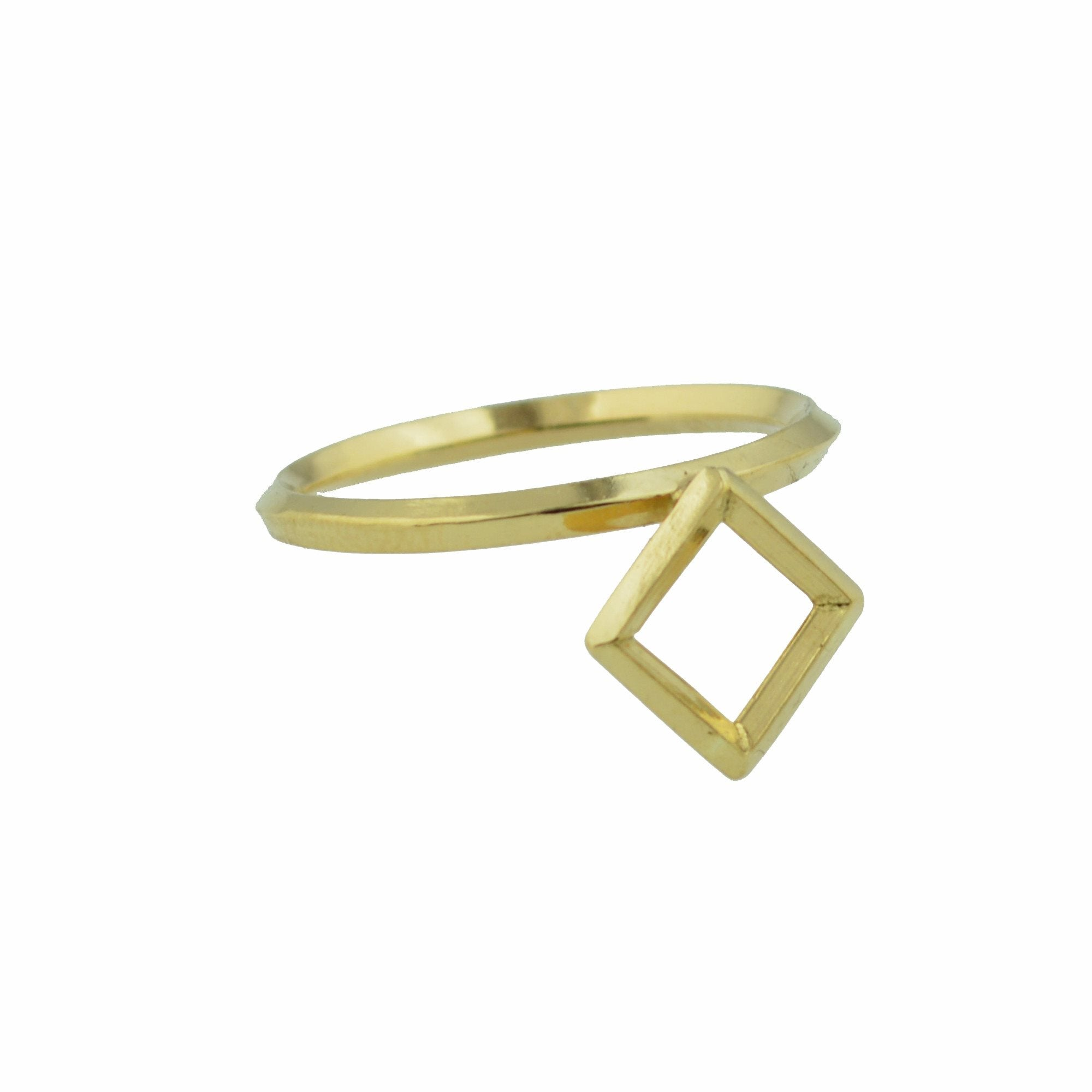 Square Window Architectural Detail Stacking Ring in 14K Gold