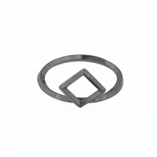 Square Window Architectural Detail Stacking Ring in Sterling Silver