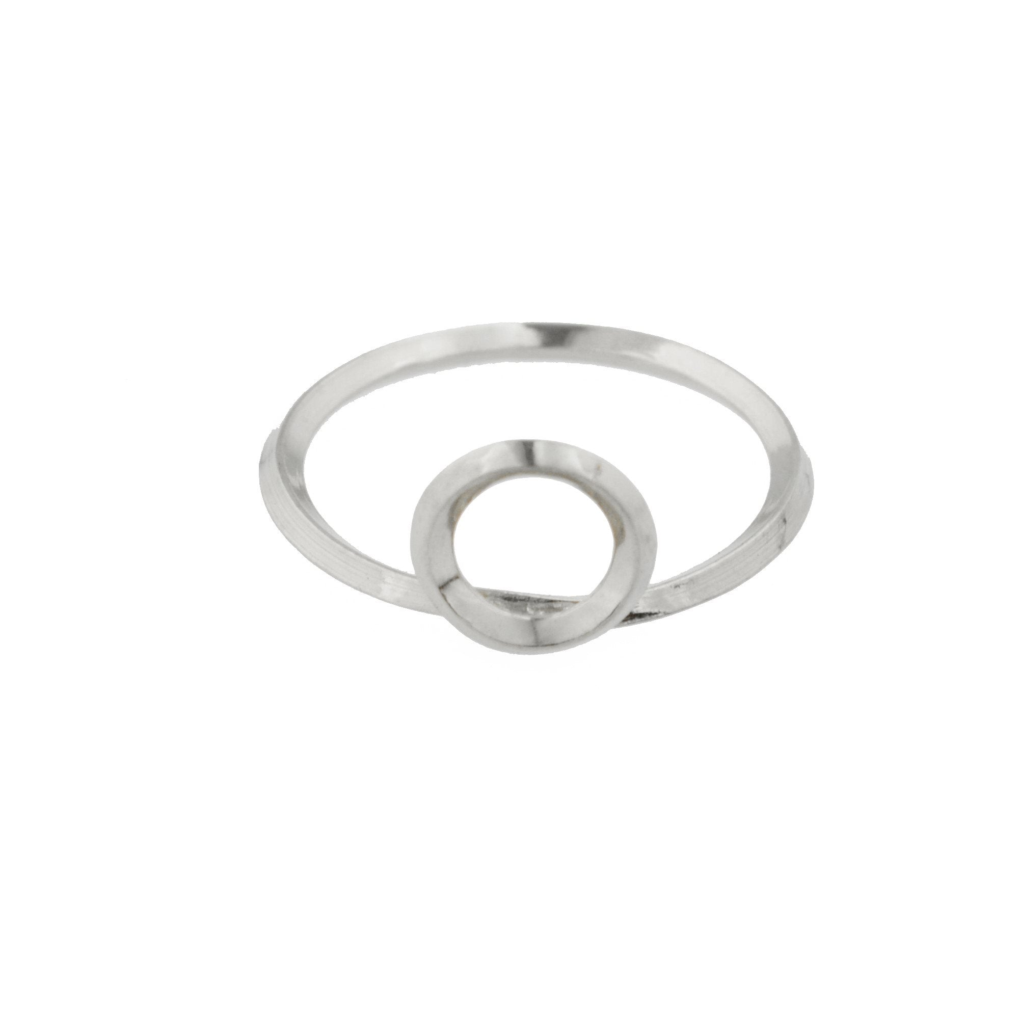 Round Window Architectural Detail Stacking Ring in Sterling Silver
