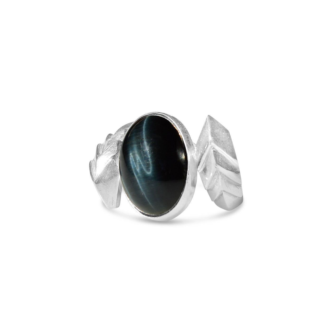 Metropolis Voltage Ring in Sterling Silver with Rare Blue Hawks Eye Cabochon