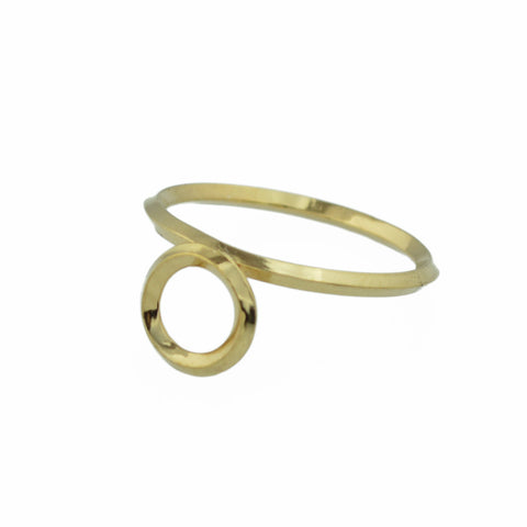Round Window Architectural Detail Stacking Ring in 14K Gold