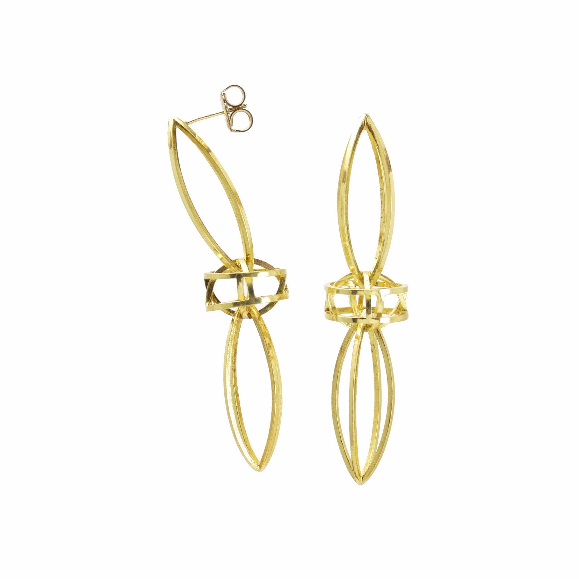 Double Lattis Earrings in 18k Gold