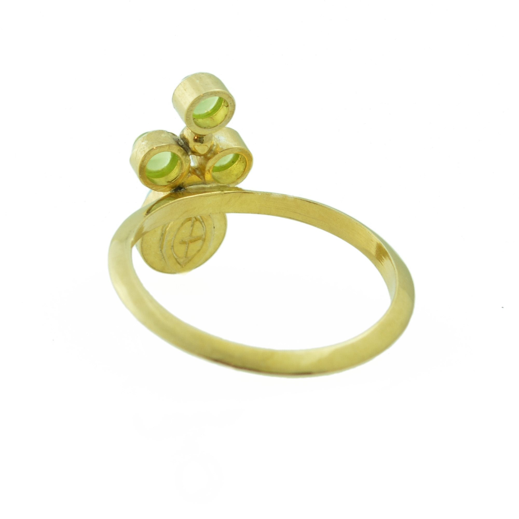 Turquoise, 14k Gold and Peridot Ring