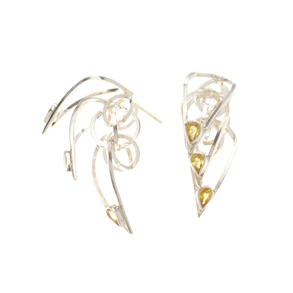 Tighra Earrings in Sterling Silver, Yellow Sapphires