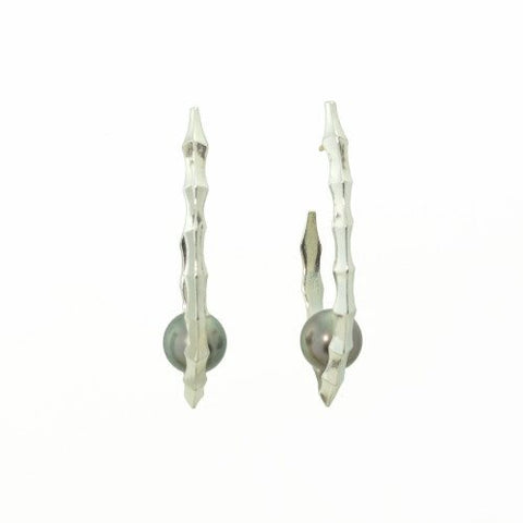 Ibex Hoop Earrings with Black Pearls in Sterling Silver