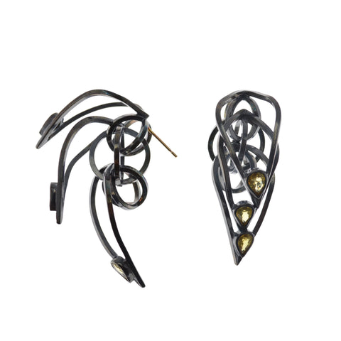 Tighra Earrings in Sterling Silver, Black Patina, Yellow Sapphires