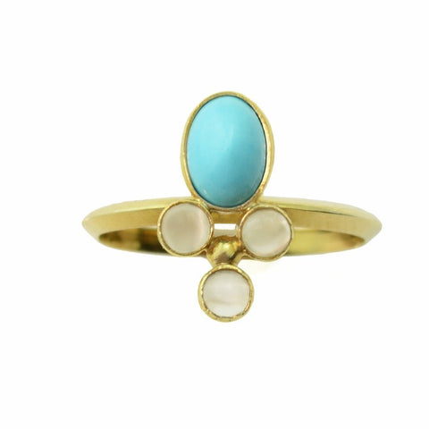 Turquoise, 14k Gold and Three Moonstone Ring