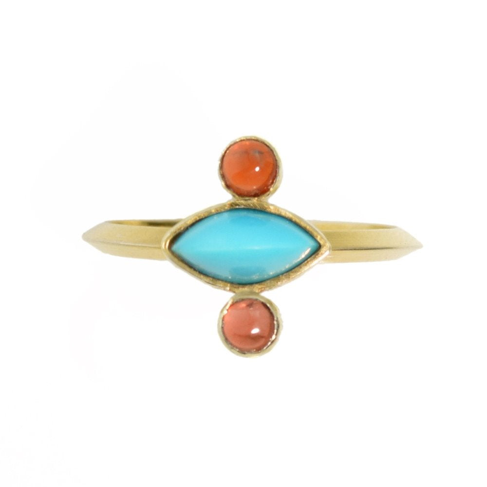 Turquoise 14k Gold and Garnet Ring