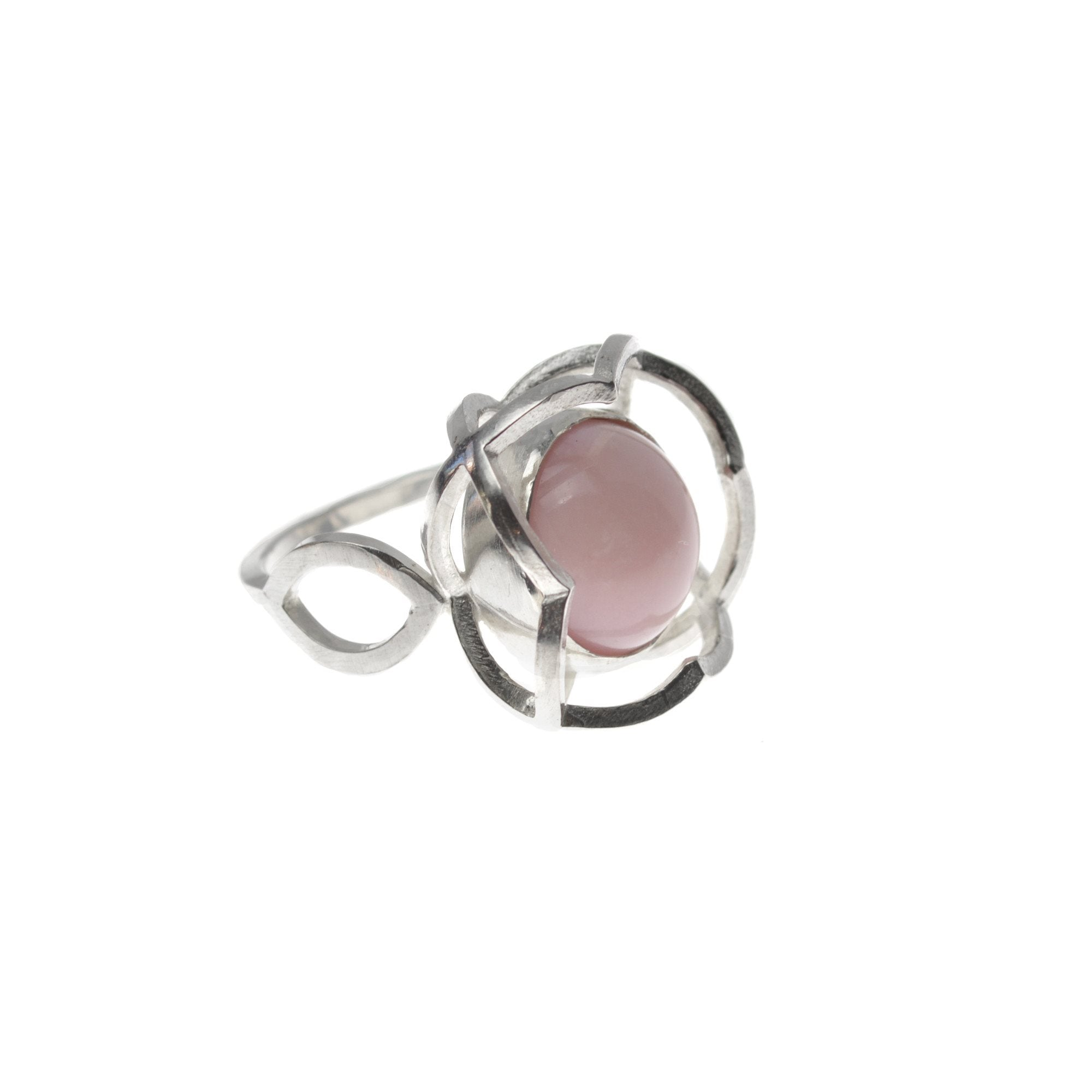 Quatrefoil Ring with Peruvian Pink Opal set in Sterling Silver