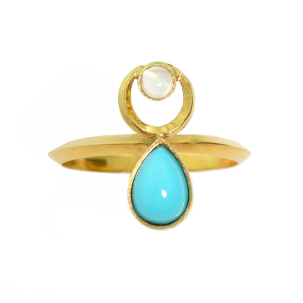 Turquoise in 14k Gold with Moonstone Crescent Moonstone Ring