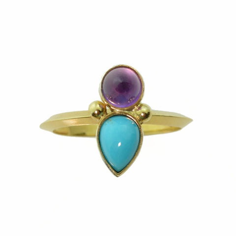 Turquoise 14k Gold and Amethyst Ring