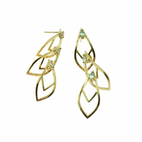 Cascade Earrings in  18k yellow gold with Montana sapphires