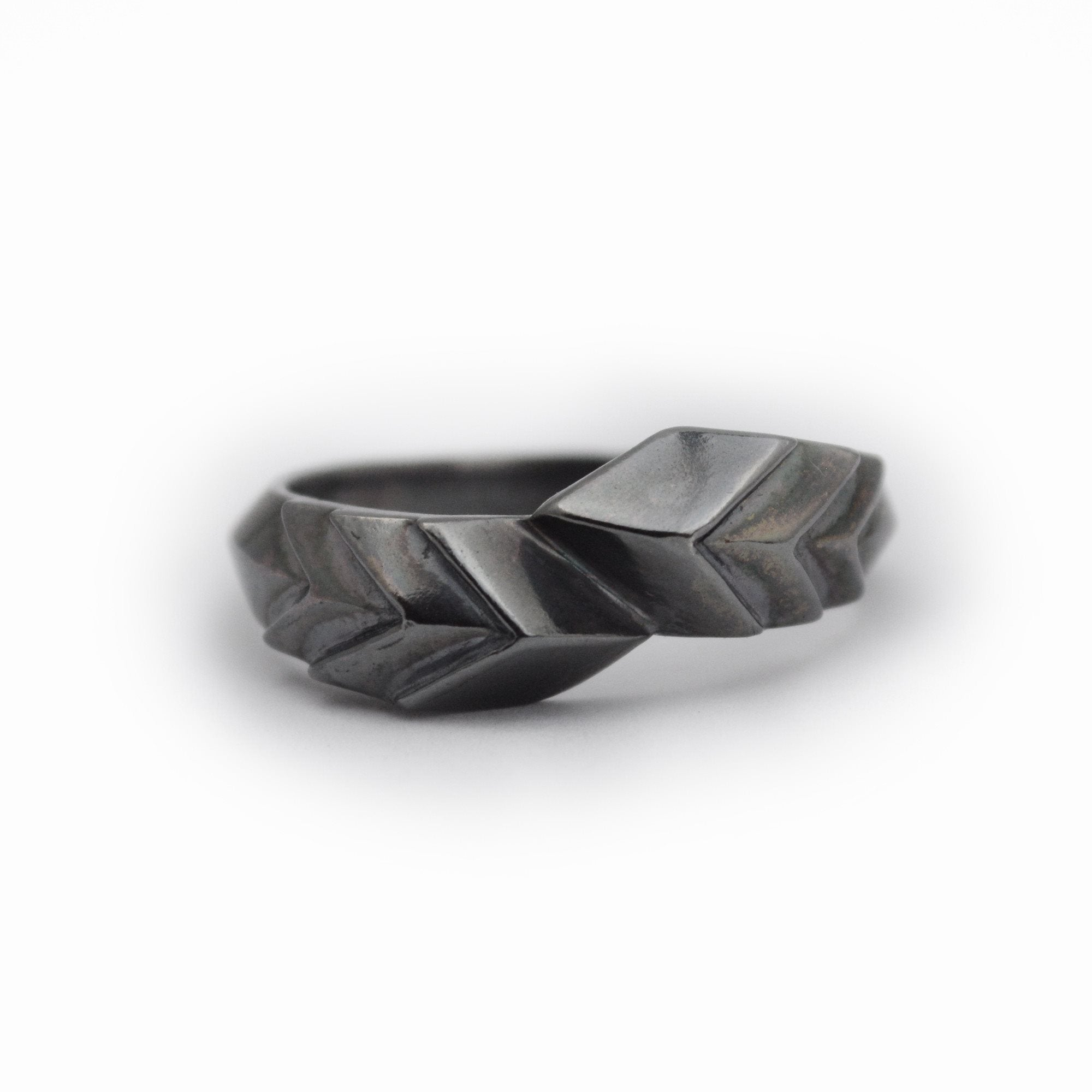 Slip Fault Ring in darkened Sterling Silver