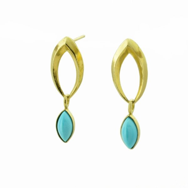 Foliate Wish earrings in 14k gold with Persian turquoise