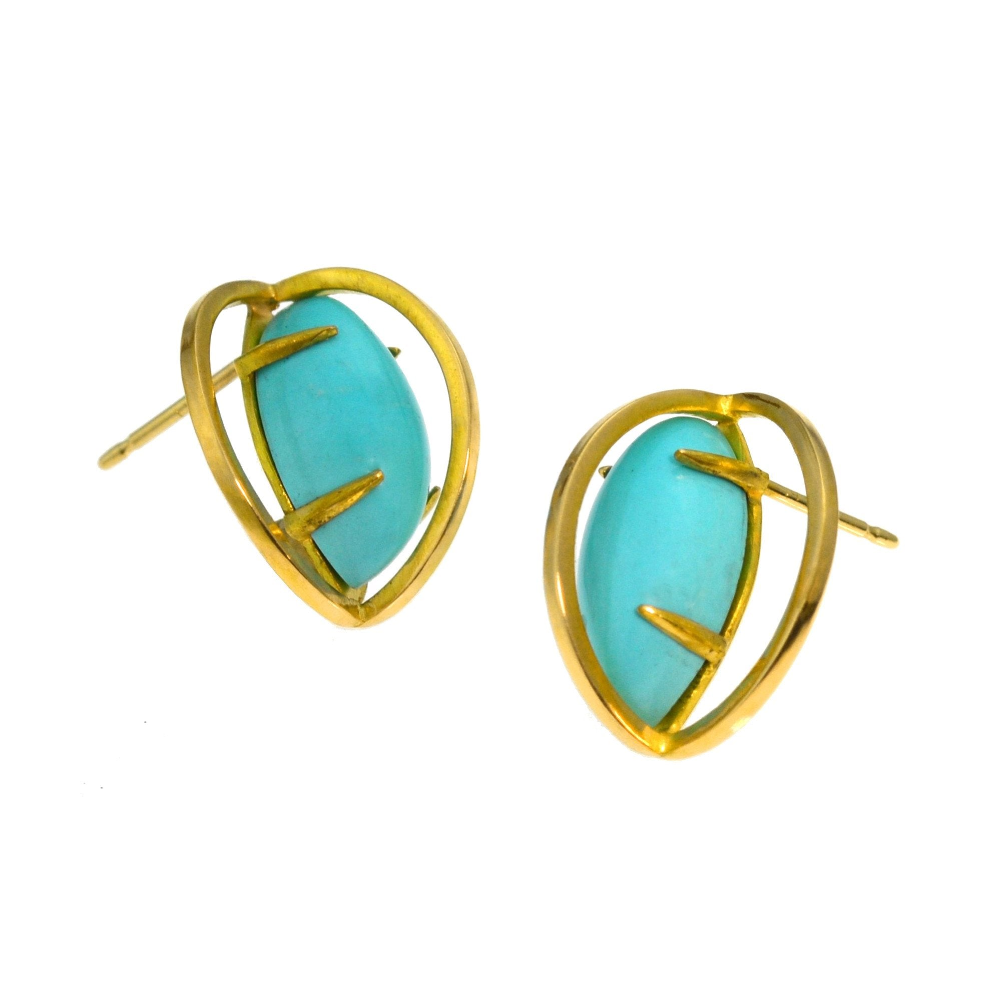 Slip Stream Earring Stud in 18k gold with natural Persian Turquoise